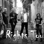 Rights Tough standing in a grungy alley way. Pictured left to right: Brett Dellavedova, Jason Stacy, Nick Hagiliassis, Mark Di Marco and Merry Prain.