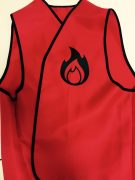 bright red vest with black trim showing the conference flame logo