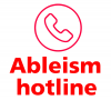 Ableism hotline logo with headset